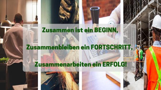 """die verschiednen Bereiche der Arbeitsmedizin und unser Slogan: """"Zusammen ist ein Beginn, Zusammenbleiben ein Fortschritt, Zusammenarbeiten ein Erfolg!"""""""